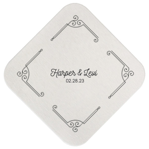 ForYourParty's personalized White Square Coaster with Satin French Blue Foil Color has a Rococo Frame 2 graphic and is good for use in Frames themed parties and will impress guests like no other. Make this party unforgettable.