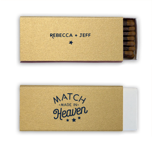 Our custom Champagne 30 Strike Matchbook with Matte Navy Foil has a Heaven Match graphic and is good for use in Words, Trendy, Wedding themed parties and will make your guests swoon. Personalize your party's theme today.