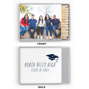 Personalized White Riviera Photo/Full Color Matchbox with Matte Navy Ink Digital Print Colors has a Cap graphic and is good for use in Graduation themed parties and couldn't be more perfect. It's time to show off your impeccable taste.