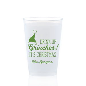 Custom Red 16 oz Frost Flex Color Cup with Matte Black Ink Cup Ink Colors has a Santa Hat graphic and is good for use in Delphine themed parties and can't be beat. Showcase your style in every detail of your party's theme!