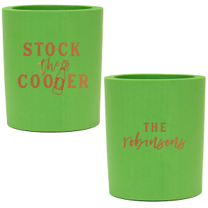 ForYourParty's personalized Spring Green Round Can Cooler with Copper Ink Cup Ink Colors has a Beer Bottle graphic and is good for use in Drinks, St. Patricks Day, Birthday themed parties and couldn't be more perfect. It's time to show off your impeccable taste.