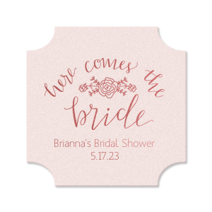 Our personalized Blush with Kraft back Deco Coaster with Shiny Turquoise Foil Color has a Here Comes the Bride 3 graphic and is good for use in Words themed parties and will make your guests swoon. Personalize your party's theme today.