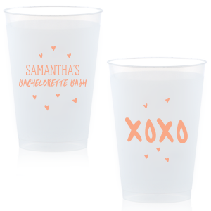 Our custom Yellow 12 oz Frost Flex Color Cup with Matte Light Coral Ink Cup Ink Colors has a Xoxo graphic and is good for use in Laurel Denise themed parties and will look fabulous with your unique touch. Your guests will agree!