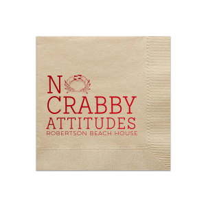 Custom Sand Cocktail Napkin with Shiny Convertible Red Foil has a Crab graphic and is good for use in Animals, Beach/Nautical, Pairs themed parties and will impress guests like no other. Make this party unforgettable.