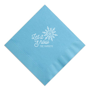 ForYourParty's elegant French Blue Cocktail Napkin with Matte White Foil Color has a Snowflake graphic and is good for use in Delphine themed parties and will make your guests swoon. Personalize your party's theme today.
