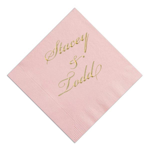 Personalized Ballet Pink Foil Embossed Cocktail Napkin with Shiny 18 Kt Gold Foil can be customized to complement every last detail of your party.