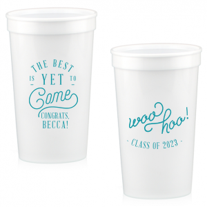 ForYourParty's personalized Teal 16 oz Stadium Cup with Matte Mint Ink Cup Ink Colors has a The Best graphic and a Woohoo graphic and is good for use in Words, Birthday, Graduation themed parties and will make your guests swoon. Personalize your party's theme today.