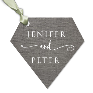 Our custom Linen Slate Large Oval Gift Tag with Matte White Foil will give your party the personalized touch every host desires.