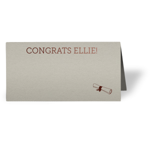 ForYourParty's personalized Natural Gray Signature Place Card with Shiny Merlot Foil has a Graduation Scroll graphic and is good for use in Graduation themed parties and will look fabulous with your unique touch. Your guests will agree!
