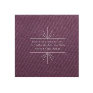 Personalized Eggplant Cocktail Napkin with Satin Sterling Silver Foil Color has a Line Frame graphic and is good for use in Industrial Mod themed parties and can be personalized to match your party's exact theme and tempo.