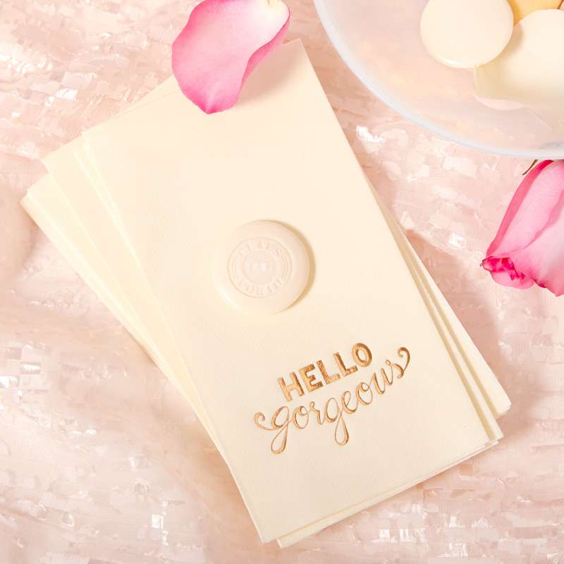 personalized hello gorgeous guest towel napkins