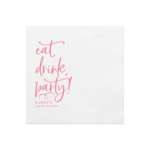 Custom White Quick Ink Printed Cocktail Napkin with Matte Pastel Pink Ink Digital Print Colors will impress guests like no other. Make this party unforgettable.