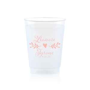 Our custom 9 oz Frost Flex Cup with Matte Pastel Pink Ink has a Twig Flourish graphic and is good for use in Floral and Wedding themed parties and can be customized to complement every last detail of your party.