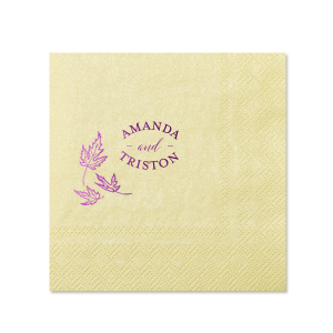 Our personalized Pearl Gold Cocktail Napkin with Shiny Amethyst Imprint Foil Color has a Three Leaves graphic and is good for use in Floral and Fall themed parties and will look fabulous with your unique touch. Your guests will agree!
