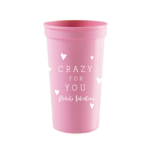 Our beautiful custom Hot Pink 16 oz Stadium Cup with Matte White Ink Cup Ink Colors will make your guests swoon. Personalize your party's theme today.