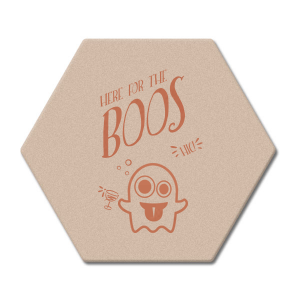 ForYourParty's elegant Kraft with Blush back Hexagon Coaster with Satin Copper Foil has a Ghost 2 graphic and is good for use in Halloween themed parties and can be customized to complement every last detail of your party.