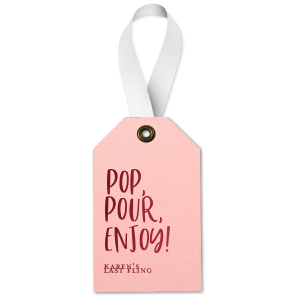 Our custom Poptone Ballet Pink Luggage Gift Tag with Shiny Merlot Foil will make your guests swoon. Personalize your party's theme today.