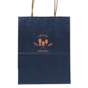 Our beautiful custom Metallic Blue Gift Bag with Satin Copper Penny Foil Color has a Hops Flourish graphic and is good for use in Beer and Drink themed parties and will give your party the personalized touch every host desires.