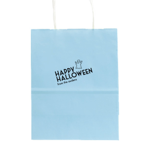 The ever-popular Azure Blue Goodie Bag with Matte Black Foil has a Ghost graphic and is good for use in Halloween themed parties and will look fabulous with your unique touch. Your guests will agree!