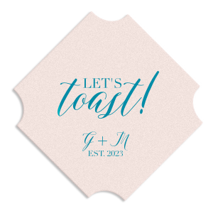 ForYourParty's personalized Blush w/ Kraft back Hexagon Coaster with Satin Teal / Peacock Foil will make your guests swoon. Personalize your party's theme today.