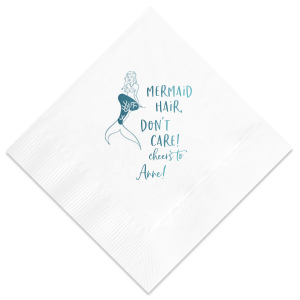 Custom Watercolor Rose Cocktail Napkin with Shiny Turquoise Foil has a Mermaid graphic and is good for use in Trendy, Beach/Nautical, Outdoors themed parties and will look fabulous with your unique touch. Your guests will agree!