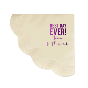 The ever-popular Ivory Scallop Luncheon Napkin with Shiny Amethyst Foil can be customized to complement every last detail of your party.