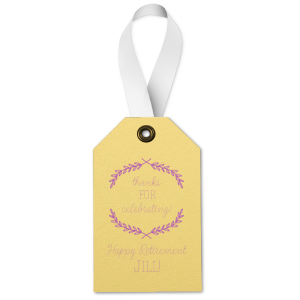 Custom Poptone Mimosa Luggage Gift Tag with Satin Plum Foil Color has a Branch Frame 1 graphic and is good for use in Frames, Floral themed parties and will add that special attention to detail that cannot be overlooked.