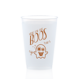 ForYourParty's elegant Copper Ink 12 oz Frosted Plastic Cup with Copper Ink Cup Ink Colors has a Ghost 2 graphic and is good for use in Halloween themed parties and will add that special attention to detail that cannot be overlooked.