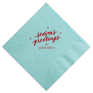 Custom Tiffany Blue Cocktail Napkin with Shiny Convertible Red Foil has a Season's Greetings graphic and is good for use in Holiday, Christmas themed parties and will give your party the personalized touch every host desires.