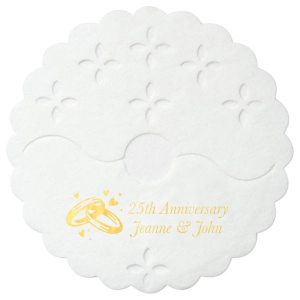 The ever-popular White Stem Wrap with Shiny 18 Kt Gold Foil Color has a Wedding Rings graphic and is good for use in Wedding, Anniversary themed parties and will look fabulous with your unique touch. Your guests will agree!