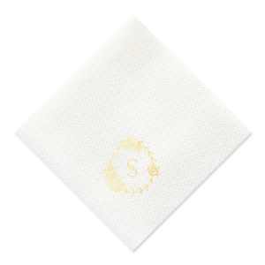 The ever-popular White Cocktail Napkin with Shiny 18 Kt Gold Foil has a Peony Frame graphic and is good for use in Floral, Frames, Wedding themed parties and can't be beat. Showcase your style in every detail of your party's theme!