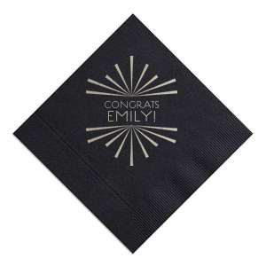 ForYourParty's elegant Black Cocktail Napkin with Shiny Sterling Silver Foil Color has a starburst frame graphic and is good for use in Lovely Press themed parties and can be personalized to match your party's exact theme and tempo.
