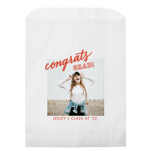 Custom White Photo/Full Color Party Bag with Matte Poppy Ink Digital Print Colors has a Congrats graphic and is good for use in Words, Hearts, Wedding themed parties and will look fabulous with your unique touch. Your guests will agree!
