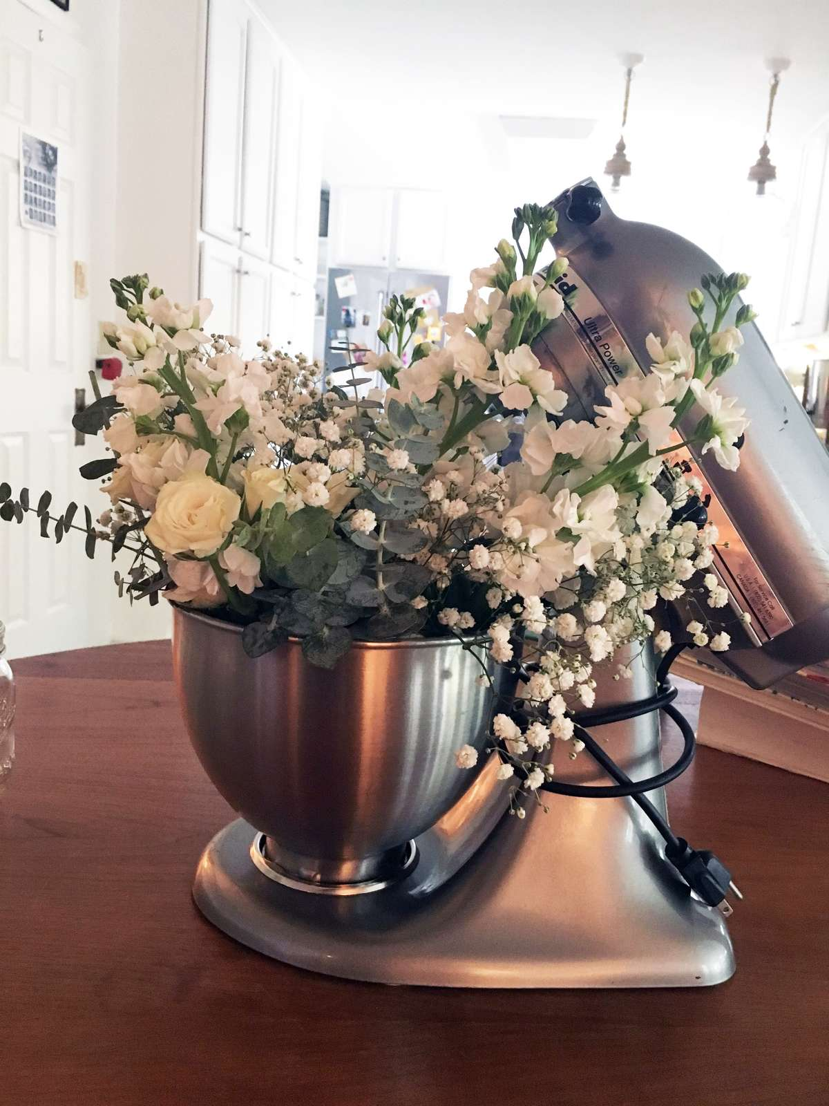 bridal shower flower centerpieces in Kitchenaid mixers