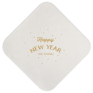 Our custom Eggshell Square Coaster with Satin 18 Kt. Gold Foil Color has a starburst stars graphic and is good for use in Lovely Press themed parties and couldn't be more perfect. It's time to show off your impeccable taste.