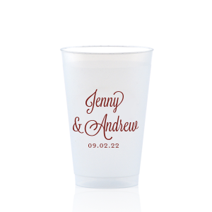 ForYourParty's personalized Matte Merlot Ink 12 oz Frosted Plastic Cup with Matte Merlot Ink Cup Ink Colors will make your guests swoon. Personalize your party's theme today.