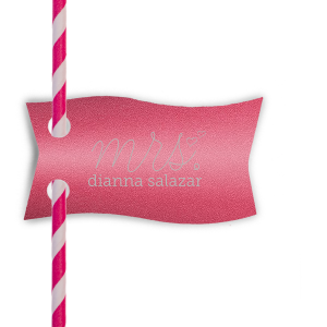 Dress up cocktails with your theme! Add this personalized straw tag in Shimmer Fuschia to show off your hostess skills and make your bestie happy. The hand lettered script, XOXO and little hearts give a playful feminine touch your bride will love for her bridal shower or bachelorette.