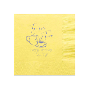 Make her birthday special with customized napkins! Choose your theme colors and add the birthday girl's name and age for a personal touch. Our Tea Pot clip art and script font will be the perfect complement to your tea party theme.