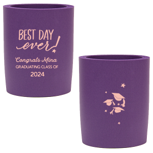 Our custom Purple Round Can Cooler with Matte Pastel Pink Ink Cup Ink Colors has a Best Day Ever graphic and a Caps Thrown graphic and is good for use in Graduation themed parties and can't be beat. Showcase your style in every detail of your party's theme!
