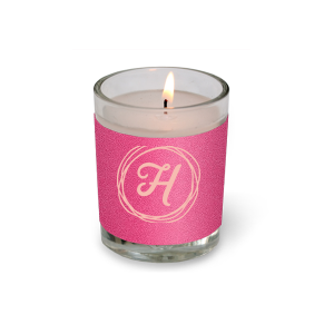 Our custom Poptone Fuschia Votive Candle with Matte Pastel Pink Foil Color has a Circle Doodle Frame graphic and is good for use in Frames themed parties and can be personalized to match your party's exact theme and tempo.