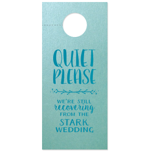 ForYourParty's personalized Stardream Tiffany Blue Door Hanger with Satin Teal / Peacock Foil Color has a Leaf Vine graphic and is good for use in Frames themed parties and can't be beat. Showcase your style in every detail of your party's theme!