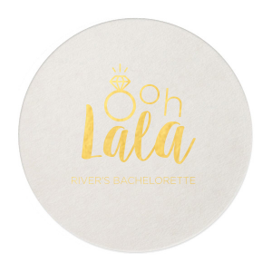 ForYourParty's personalized Eggshell Square Coaster with Shiny 18 Kt Gold Foil Color has a Diamond Ring graphic and is good for use in Wedding themed parties and can be personalized to match your party's exact theme and tempo.