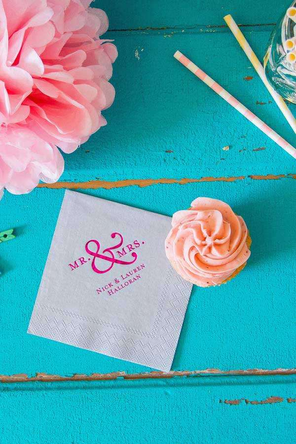 shimmer personalized napkin for wedding