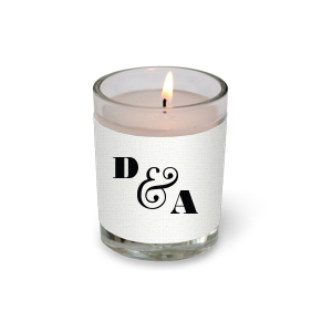The ever-popular Linen White Votive Candle with Matte Black Foil Color will make your guests swoon. Personalize your party's theme today.