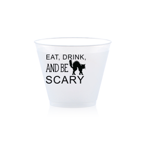 Personalized Matte Black Ink 10 oz Frost Flex Cup with Matte Black Ink Cup Ink Colors has a Black Cat graphic and is good for use in Animals, Halloween themed parties and can be personalized to match your party's exact theme and tempo.