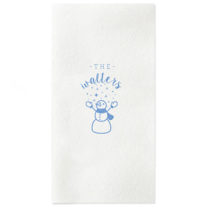ForYourParty's personalized Powder Blue Linen Like Dinner Napkin with Matte White Imprint Foil Color has a Snowman Stars graphic and is good for use in Holiday or Christmas themed parties, or for around your home, and will impress guests like no other. Make this party unforgettable.