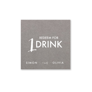 Our beautiful custom Natural Slate Square Business/Calling Card with Matte White Foil will make your guests swoon. Personalize your party's theme today.