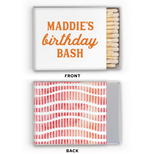 Our custom White Riviera Photo/Full Color Matchbox with Matte Tangerine Ink Digital Print Colors can be customized to complement every last detail of your party.