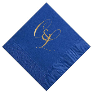 ForYourParty's personalized Eggplant Cocktail Napkin with Satin 18 Kt. Gold Foil can be personalized to match your party's exact theme and tempo.
