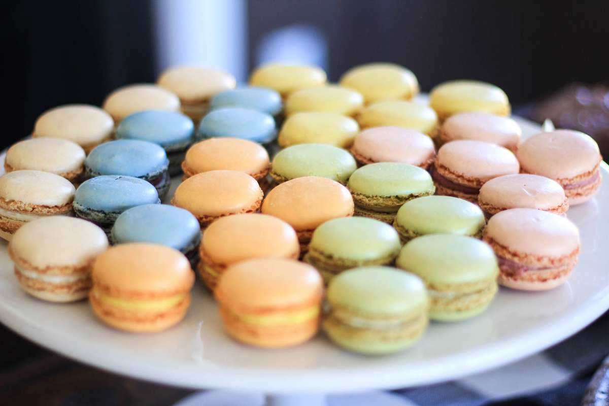 colorful bridal shower macaroons